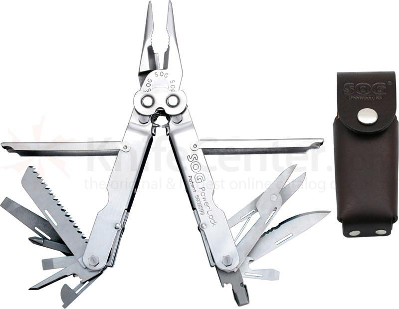 SOG PowerLock Stainless Finish Multi-Tool with Leather Sheath