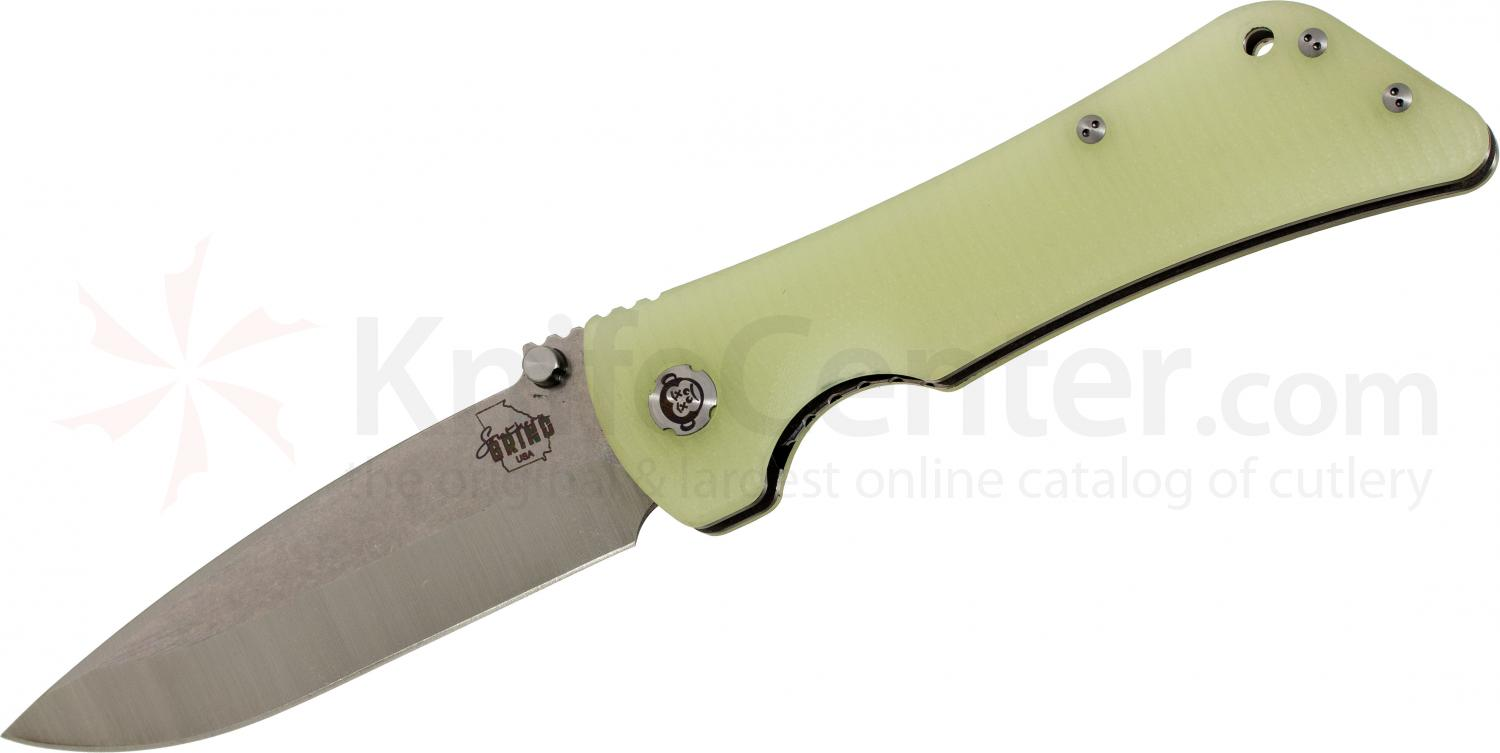 Southern Grind Bad Monkey Folding 4 inch Satin Drop Point Blade, Jade Ghost Green G10 Handle