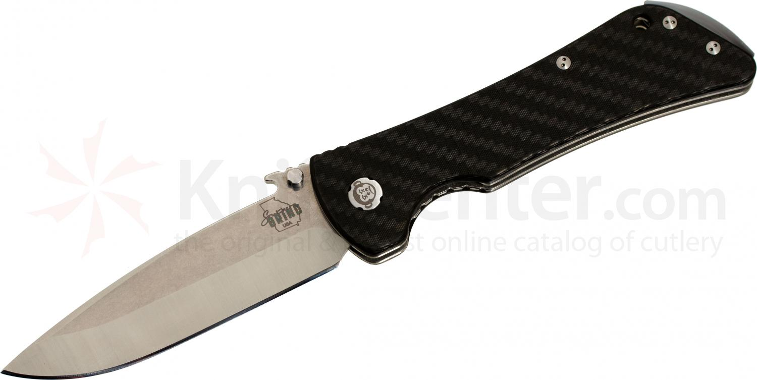 Southern Grind Bad Monkey Folding 4 inch Satin Drop Point Blade with Wave, Carbon Fiber Handle
