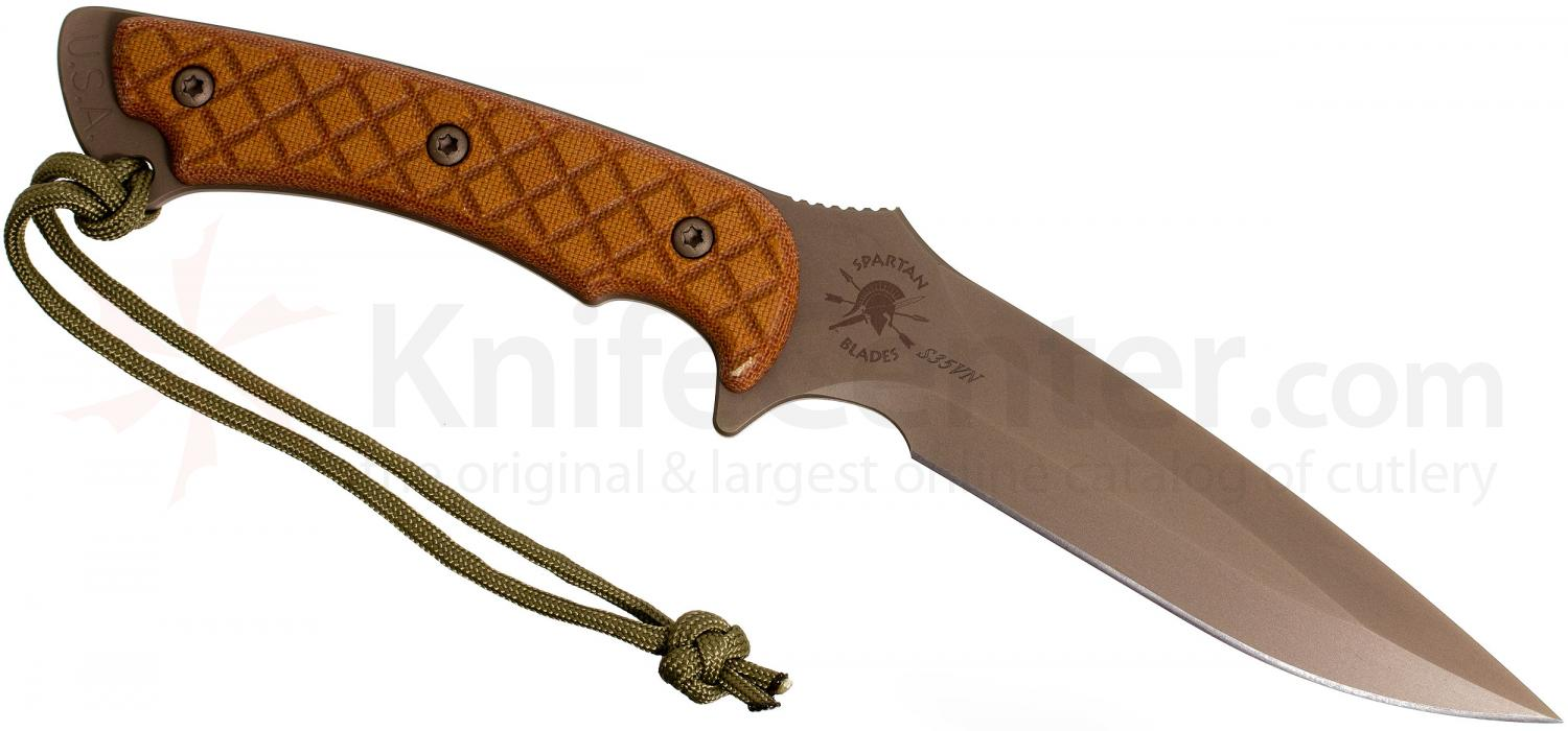 Spartan Blades Ares Combat Knife 5-3/8 inch S35VN FDE Blade, Natural Tan Micarta Handles, Coyote Kydex Sheath