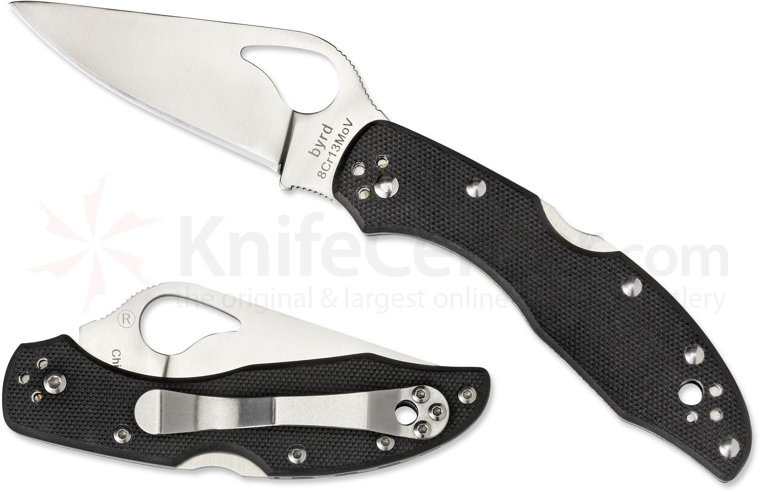 Spyderco Byrd BY04GP2 Meadowlark 2 Folding Knife 2-7/8 inch Plain Flat-Ground Blade, G10 Handles
