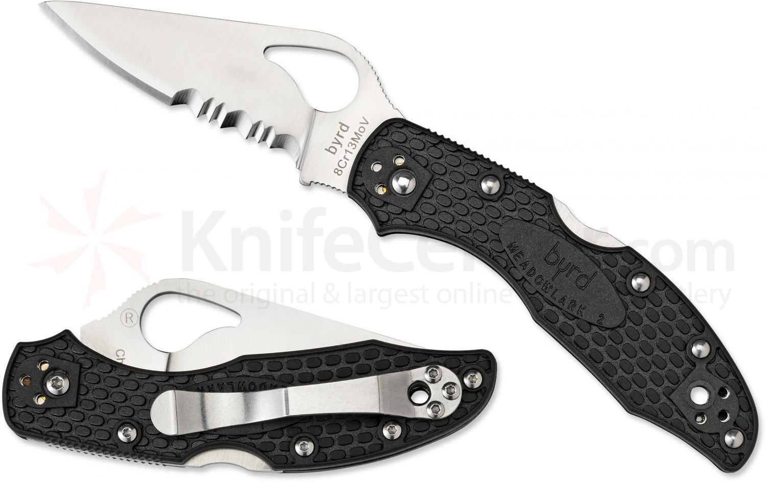 Spyderco BY04PSBK2 Byrd Folding Knife Meadowlark 2 2-7/8 inch Combo Flat-Ground Blade, Black FRN Handles