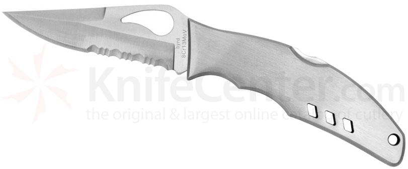 Spyderco BY05PS Byrd Flight Folding Knife 3-7/16 inch Combo Blade, Stainless Steel Handles