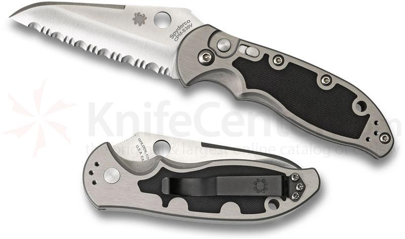 Spyderco C121S Embassy AUTO 3-1/8 inch S30V Satin Serrated Blade, Aluminum Handles with G10 Inlays