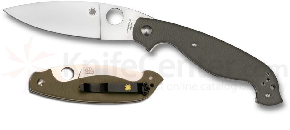 Spyderco Knives Schempp Barong Folder VG10 Blade Field Green G10 Handle