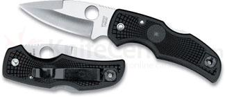 Spyderco Native Folding Knife 3-1/16 inch S30V Satin Plain Blade, Black FRN Handles