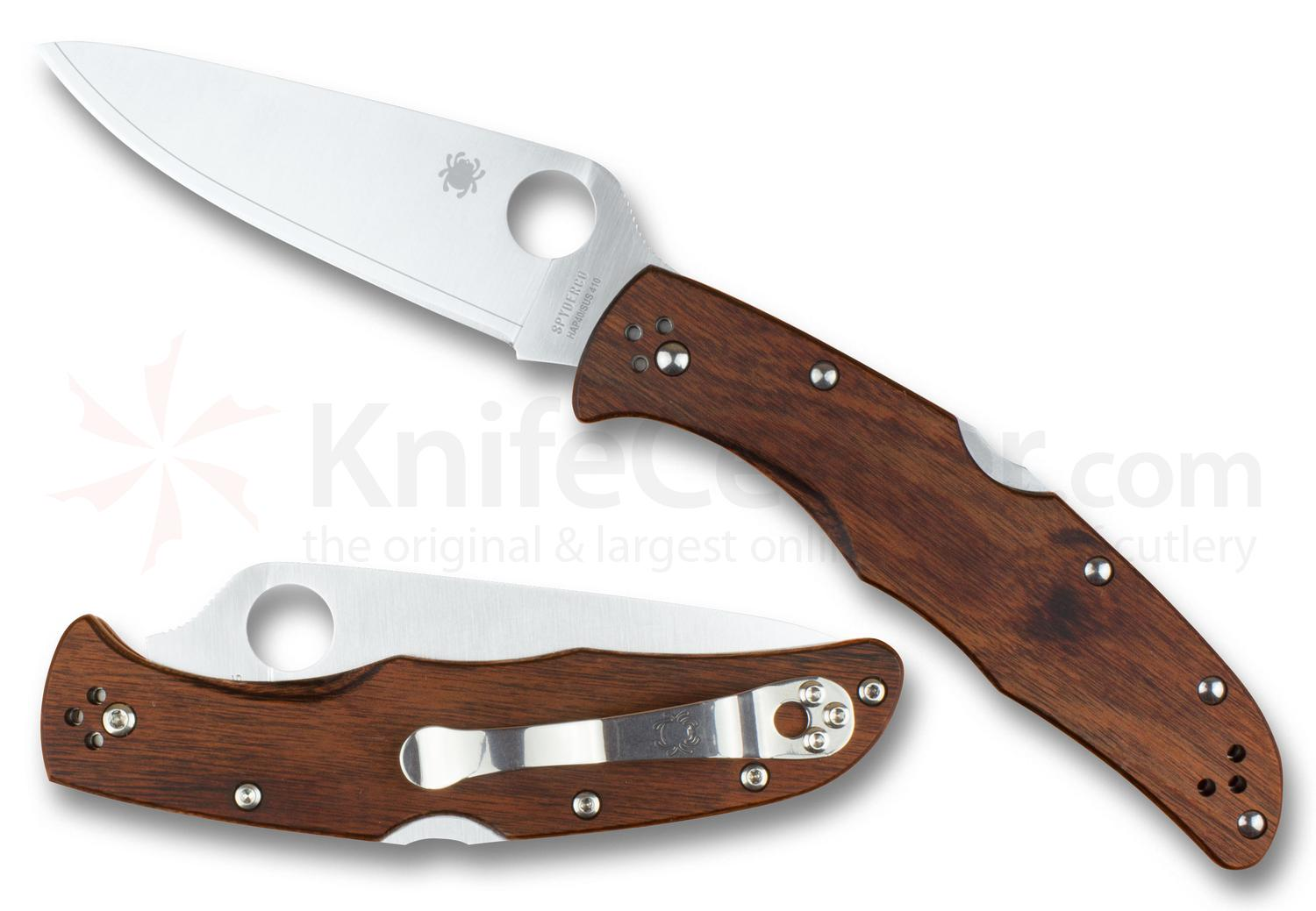 Spyderco Endura 4 Folding Knife 3.8 inch HAP40/SUS410 Satin Plain Blade, Mahogany Pakkawood Handles, KnifeCenter Exclusive