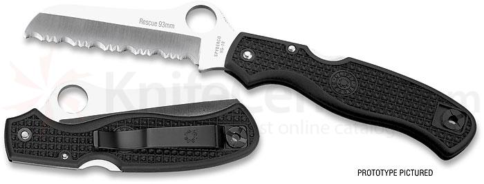 Spyderco Clipit 93MM Rescue Folder 3-5/8 inch VG10 Serrated Blade, FRN Handles
