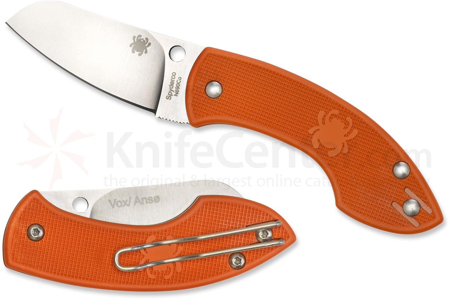 Spyderco C163POR Pingo Folding Knife 2.35 inch N690CO Satin Plain Blade, Orange FRN Handles