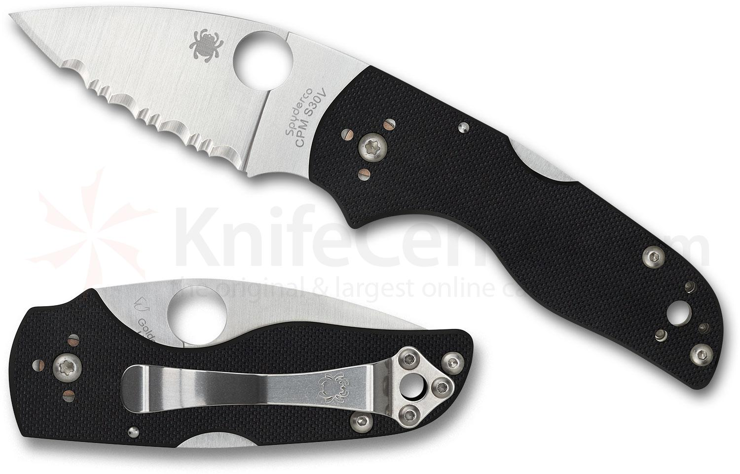 Spyderco Lil' Native Lockback Folding Knife 2.47 inch CPM-S30V Satin Serrated Blade, Black G10 Handles