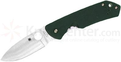 Spyderco C232GTIP Jerry Brouwer Folding Knife S30V Satin Plain Blade, Forest Green G10 with Titanium Back Handles
