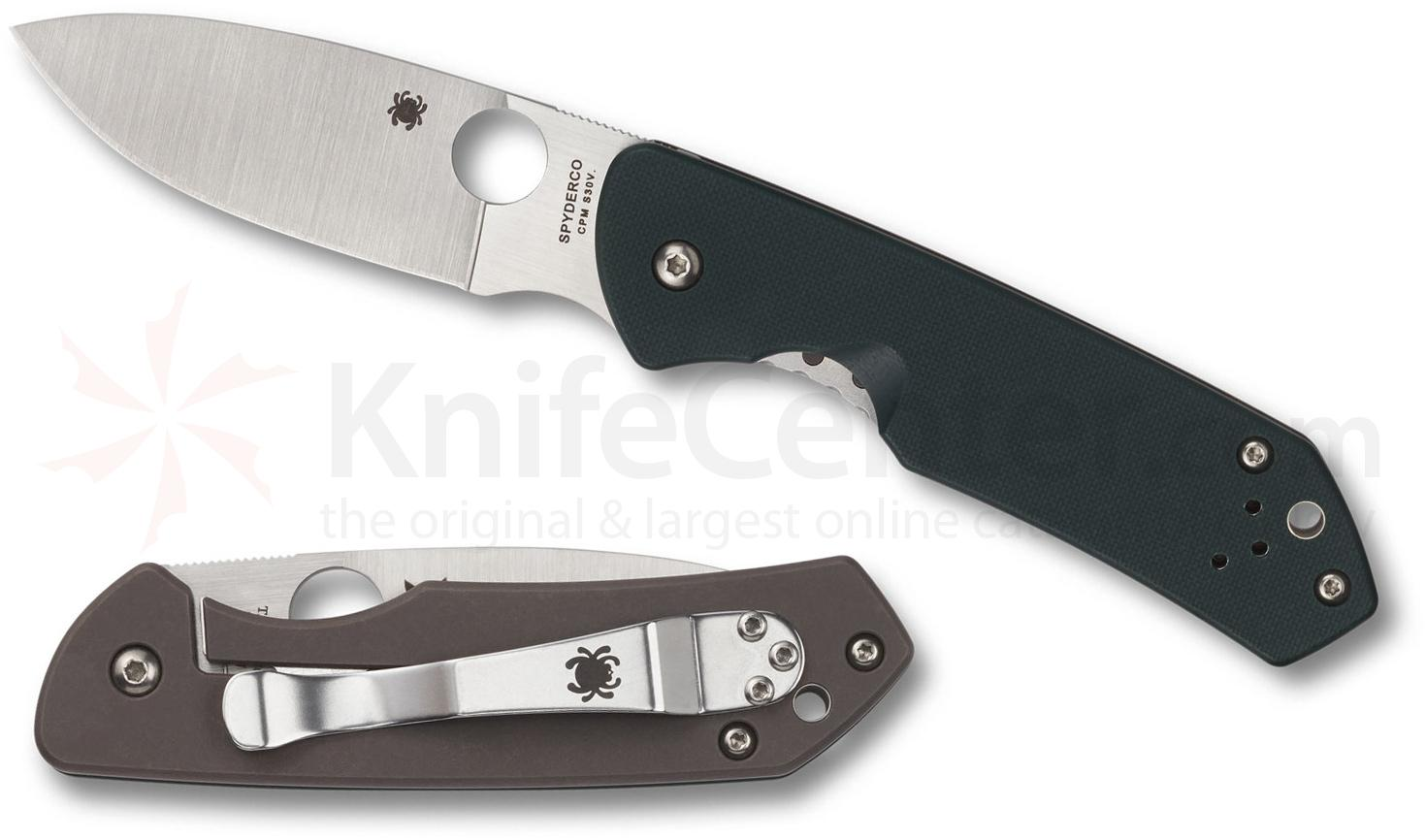 Spyderco Jerry Brouwer Folding Knife 2.77 inch S30V Satin Plain Blade, Forest Green G10 and Titanium Handles