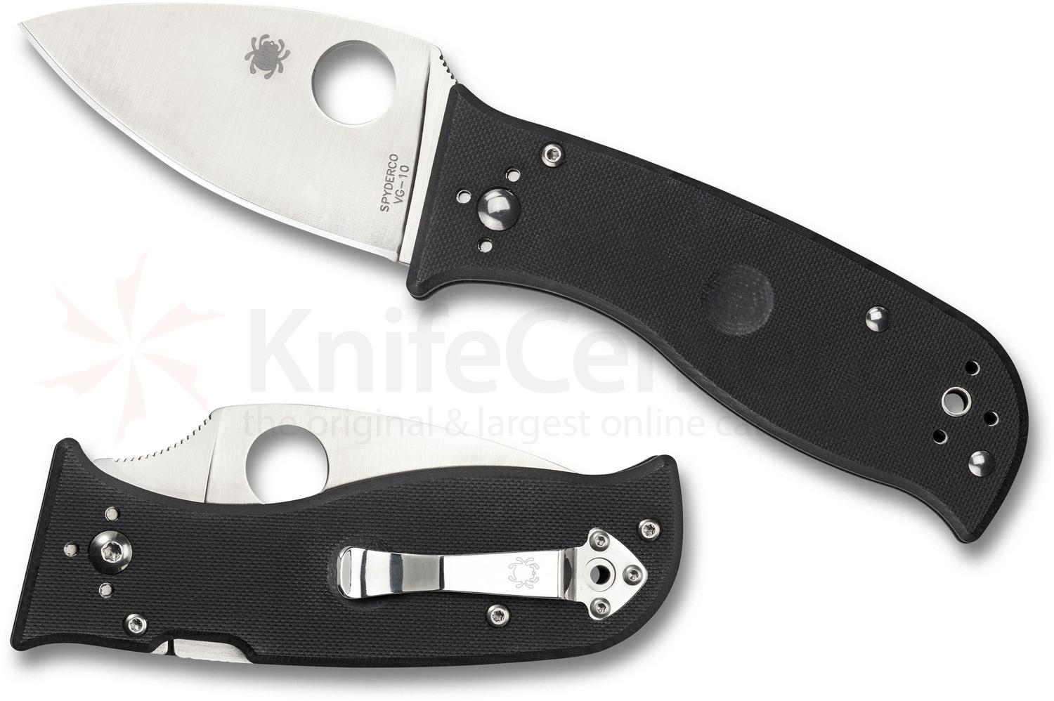 Spyderco Lil' Temperance 3 Folding Knife 2.9 inch S30V Satin Plain Blade, Black G10 Handles