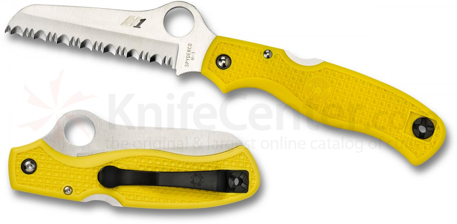 Spyderco C89SYL Atlantic Salt Folding Knife 3-11/16 inch H1 Serrated Rescue Blade, Yellow FRN Handles