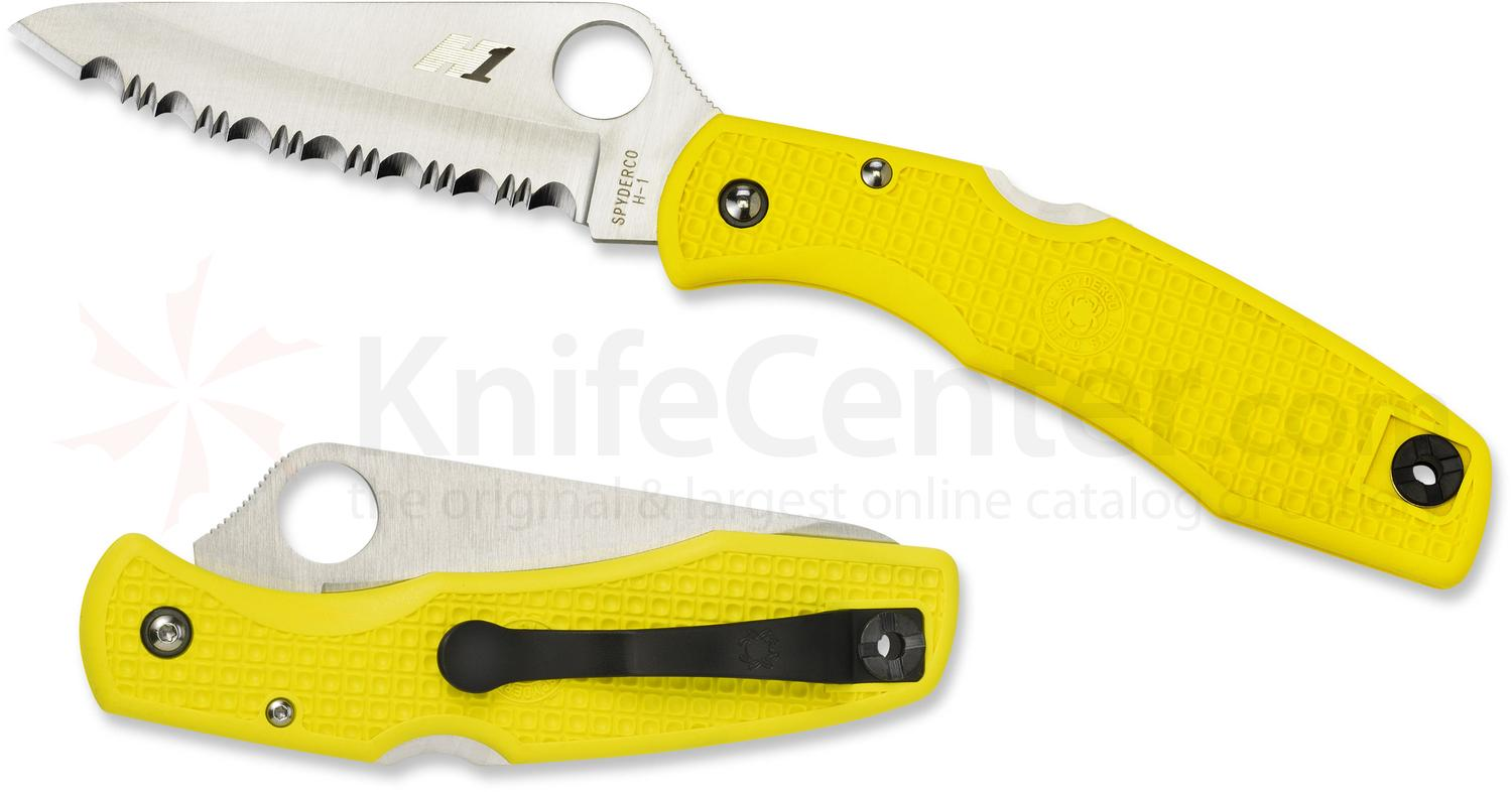 Spyderco C91SYL Pacific Salt Folding Knife 3-13/16 inch H1 Satin Serrated Blade, Yellow FRN Handles