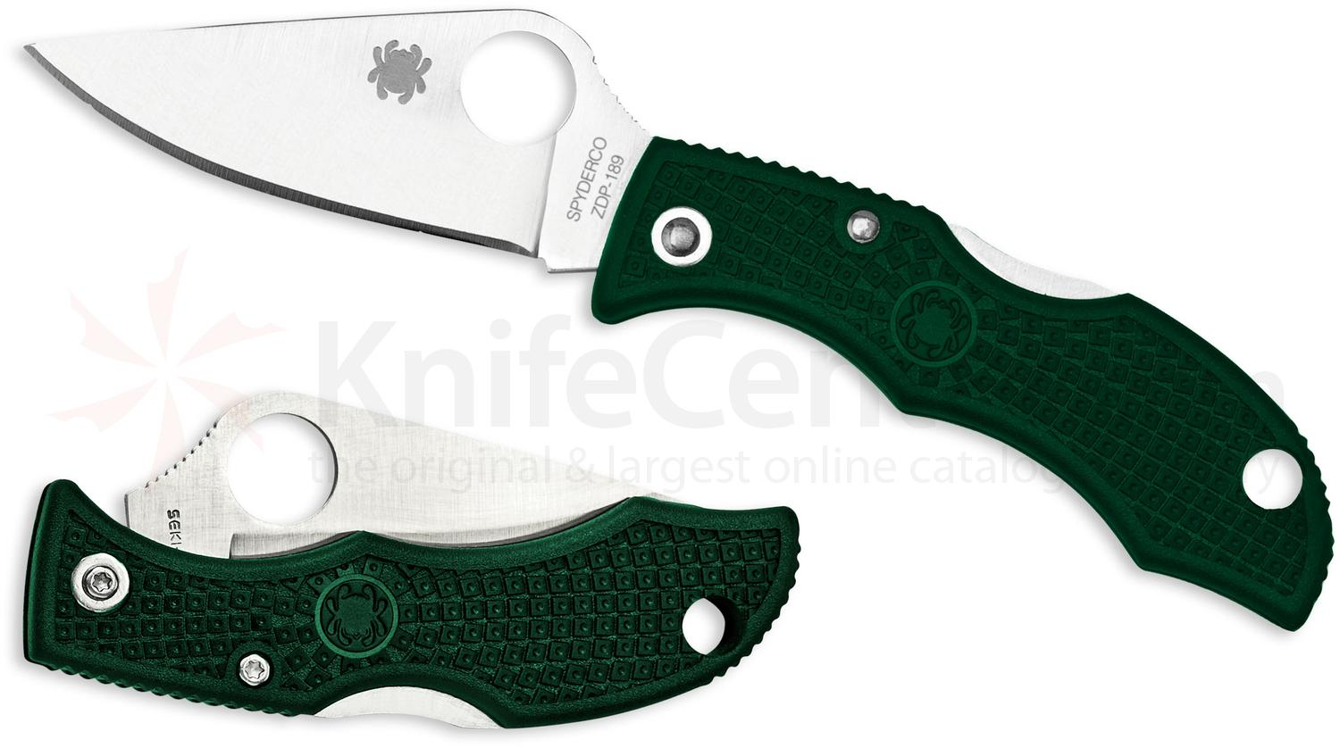 Spyderco LGREP3 Ladybug 3 Key Ring Knife 1-15/16 inch ZDP-189 Satin Plain Blade, Green FRN Handles