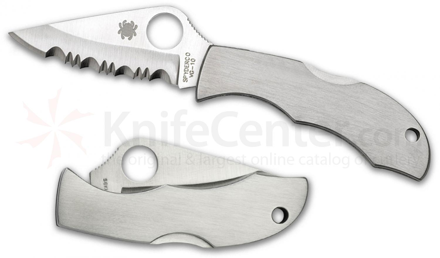 Spyderco LSSS3 Ladybug 3 Key Ring Knife 1.938 inch VG10 Satin Serrated Blade, Stainless Steel Handles