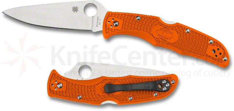 Spyderco C10FPOR Endura Flat Ground 3-3/4 inch VG10 Satin Plain Blade, Orange FRN Handles