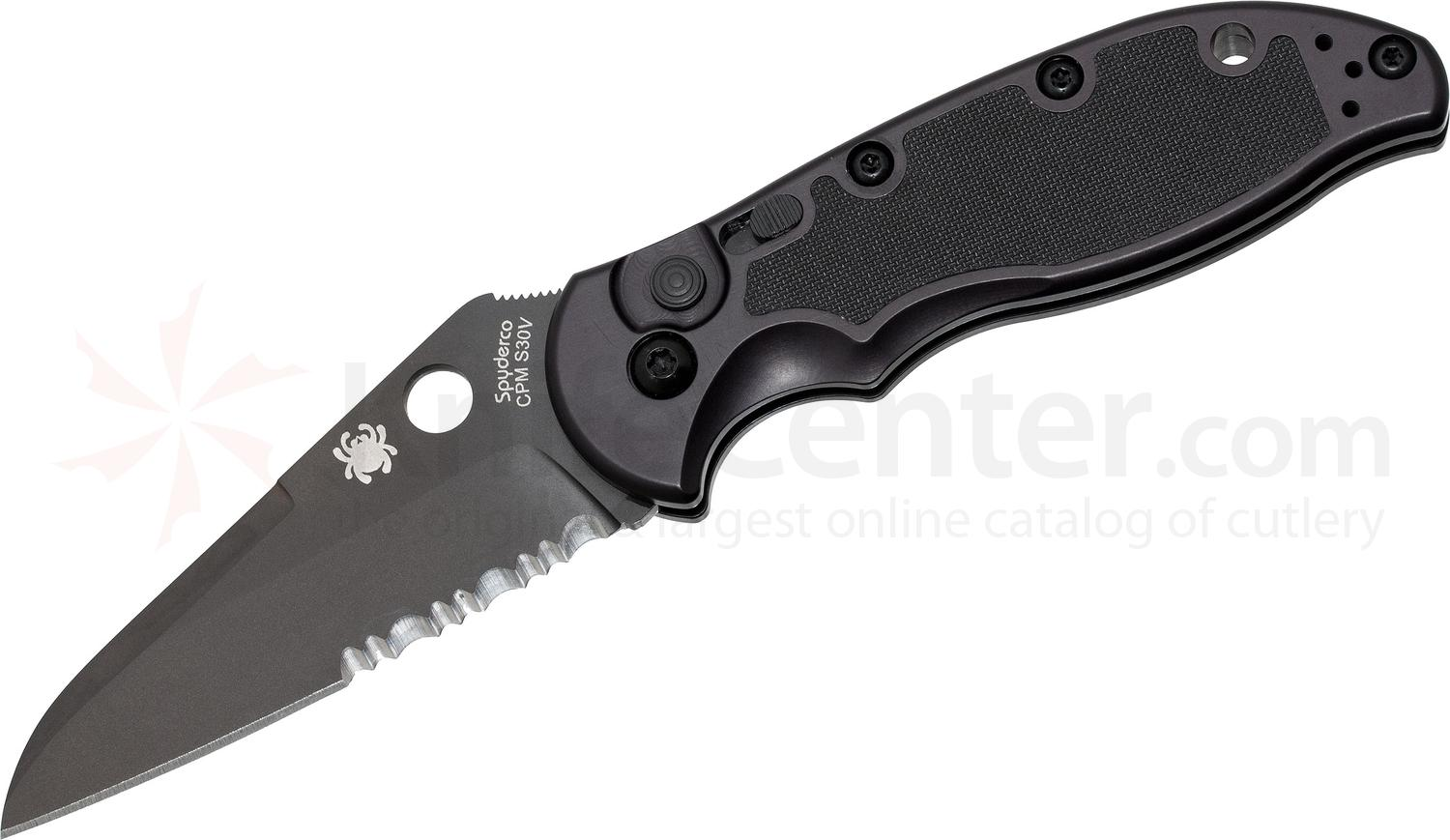 Spyderco C121BKPS Embassy AUTO 3-1/8 inch S30V Black Combo Blade, Aluminum Handles with G10 Inlays