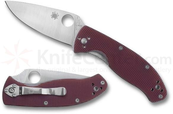 Spyderco C122GPRC Tenacious Folding Knife 3.38 inch Plain Blade, Red Checkered G10 Handles
