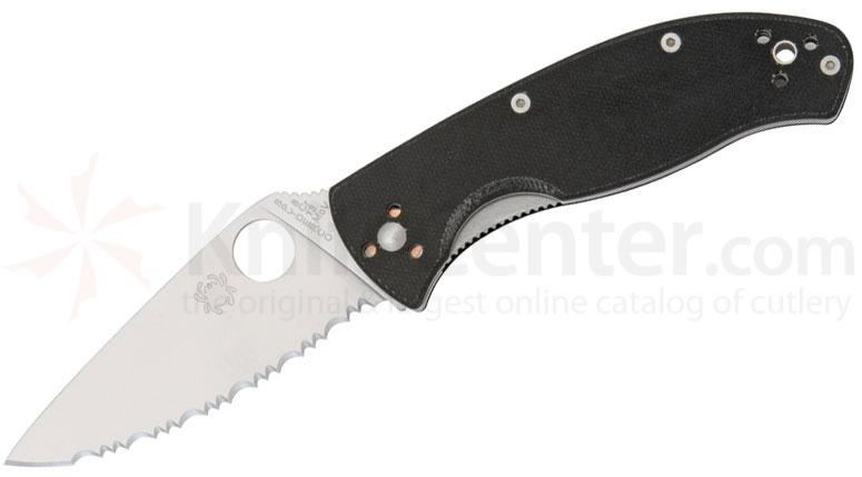 Spyderco C122GS Tenacious Folding Knife 3-3/8 inch Serrated Blade, G10 Handles