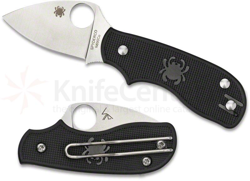 Spyderco C154PBK Squeak Folding Knife 2 inch Plain N690CO Blade, Black FRN Handles