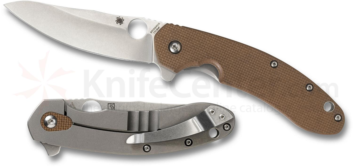 Spyderco C156GPBN Brad Southard Flipper 3.46 inch CTS-204P Carpenter Steel Blade, Brown G10 Handle