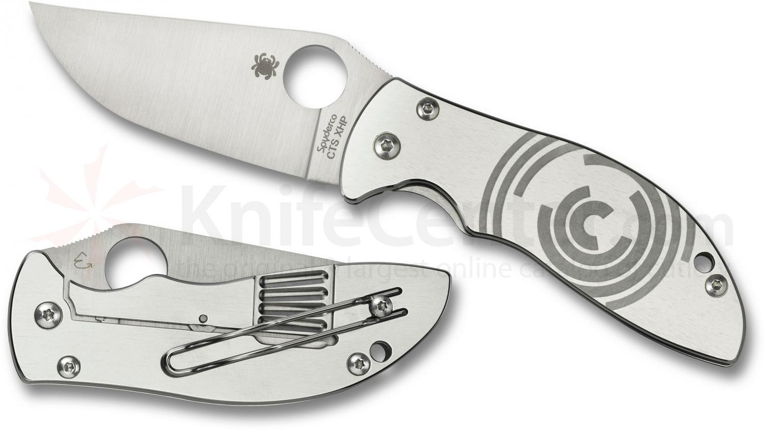 Spyderco C160P Carpenter Foundry Folding 3.33 inch CTS-XHP Plain Blade, Stainless Steel Handles