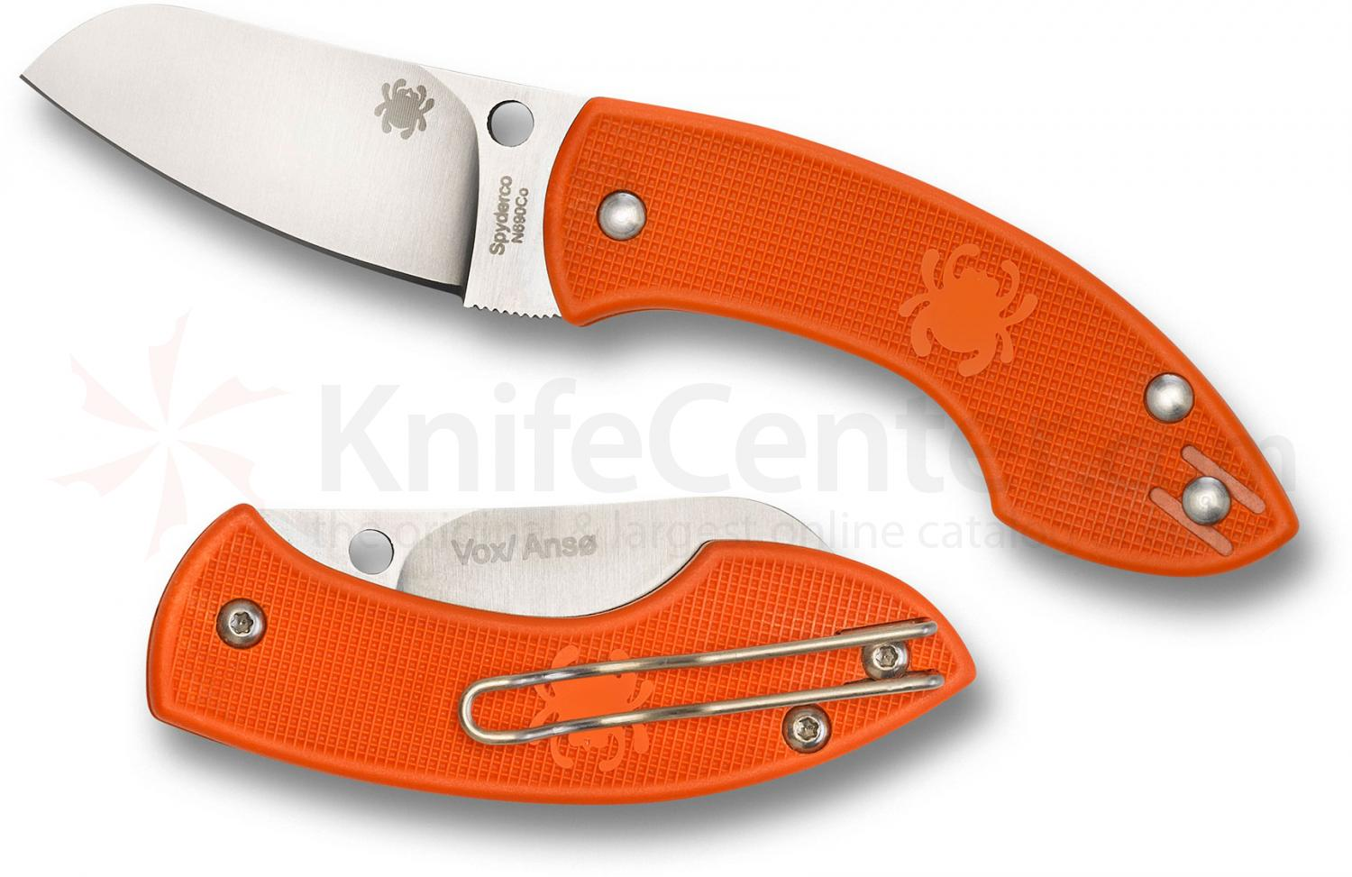 Spyderco C163POR Pingo Folding Knife 2.35 inch Plain N690CO Blade, Orange FRN Handles