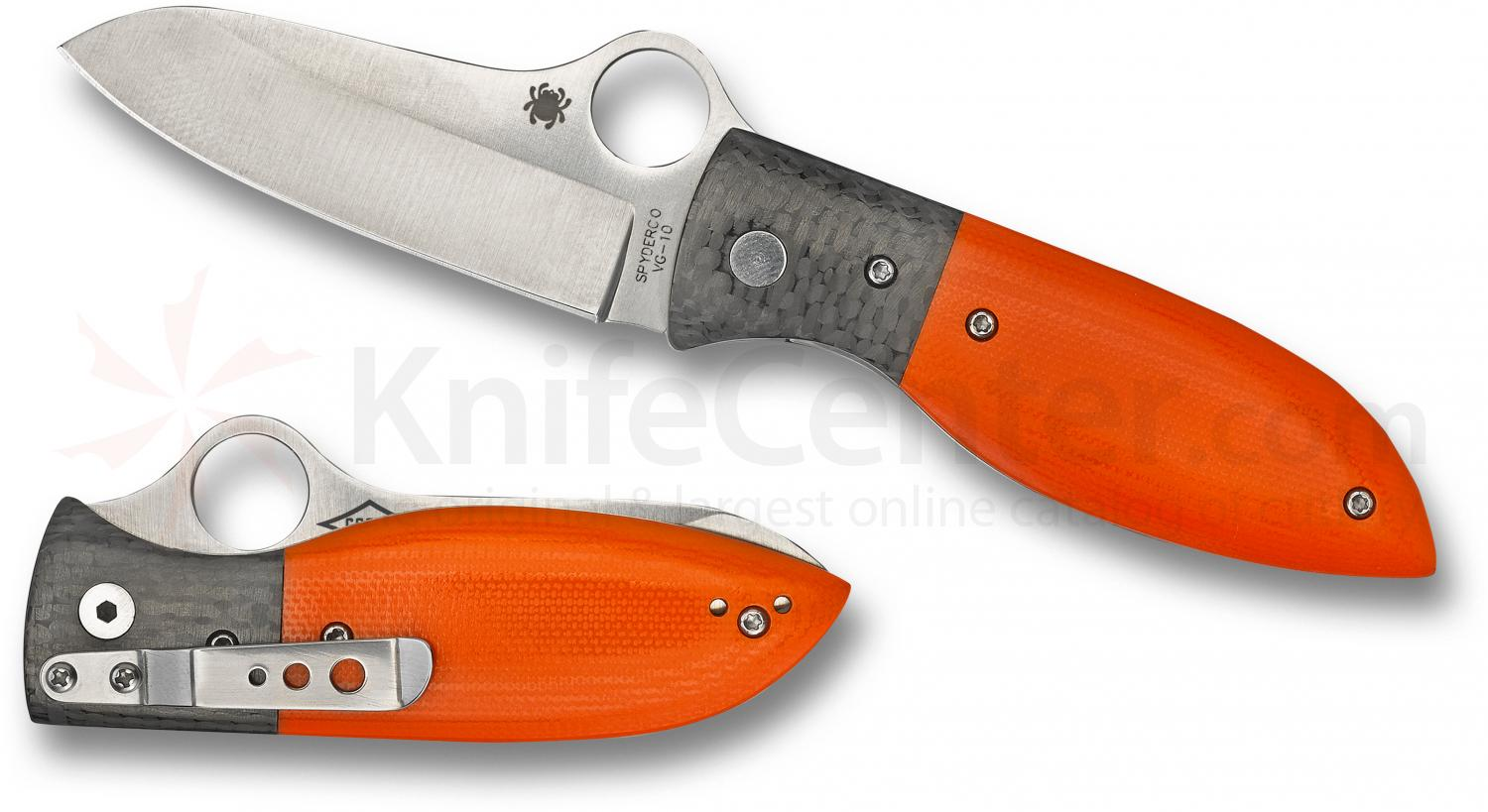 Spyderco C184GPOR Firefly Folding 2.74 inch VG10 Plain Blade, Orange G10 Handles with Carbon Fiber Bolsters