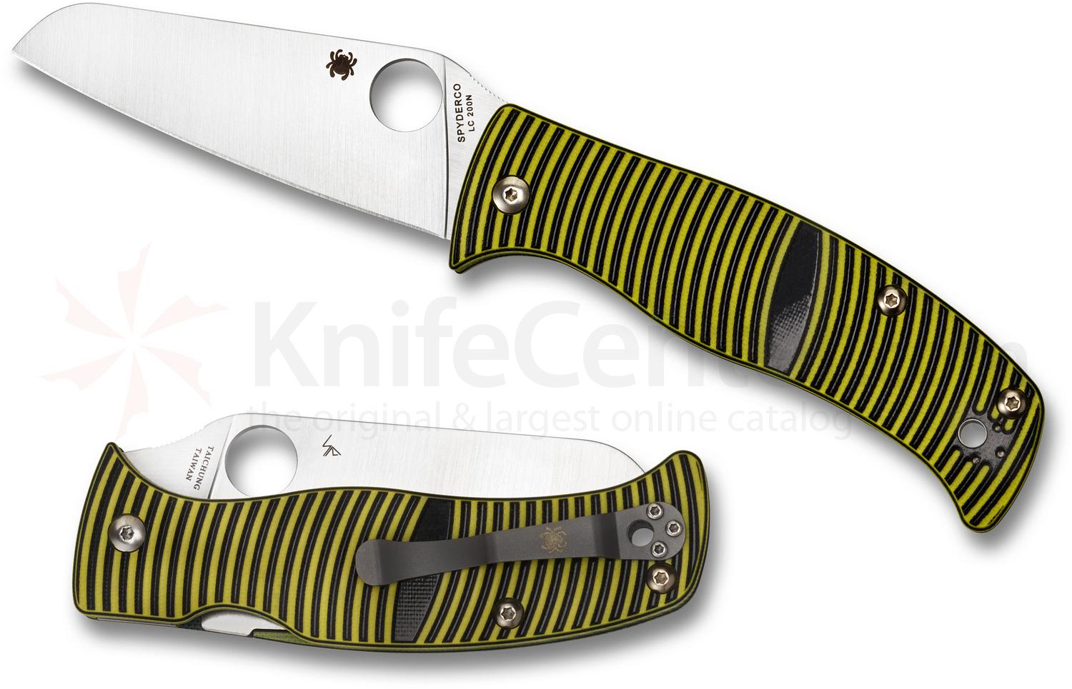 Spyderco C217GPSF Caribbean Folding Knife 3.7 inch Rustproof LC200N Sheepsfoot Plain Blade, 3D Machined G10 Handles