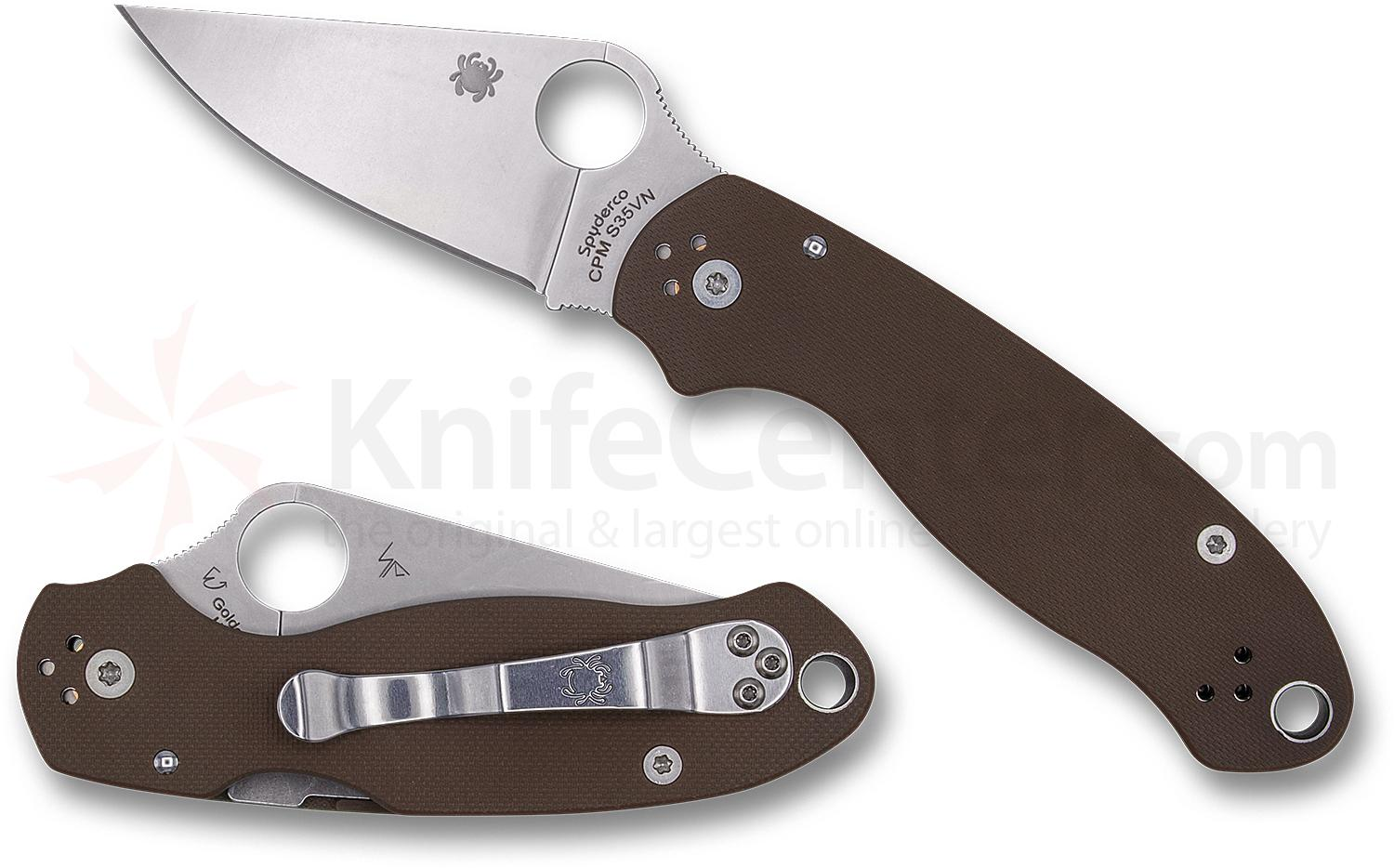 Spyderco Para 3 Folding Knife 3 inch S35VN Satin Plain Blade, Earth Brown G10 Handles (Paramilitary 3)