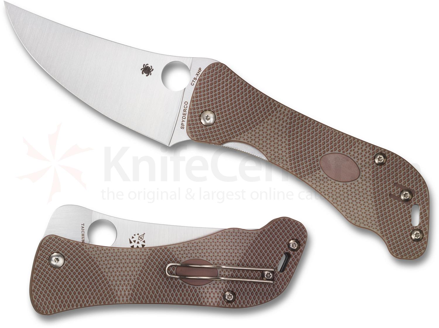 Spyderco Hundred Pacer Folding Knife 3.99 inch CTS-XHP Satin Plain Blade, 3D Machined Brown/Tan G10 Handles