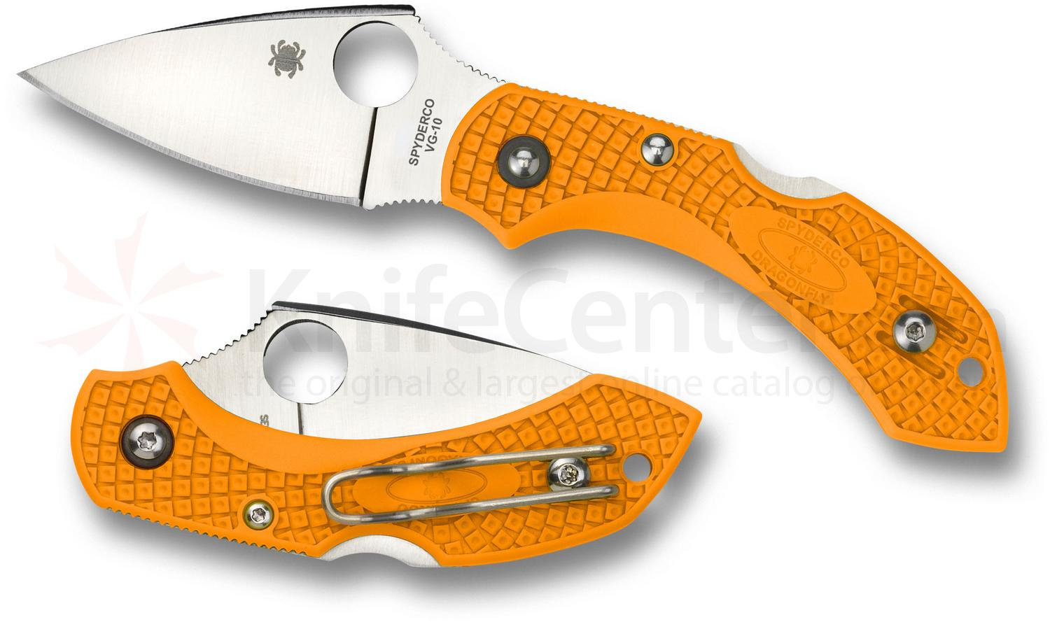Spyderco C28POR2 Dragonfly 2 Folding Knife 2-5/16 inch VG10 Plain Blade, Orange FRN Handles