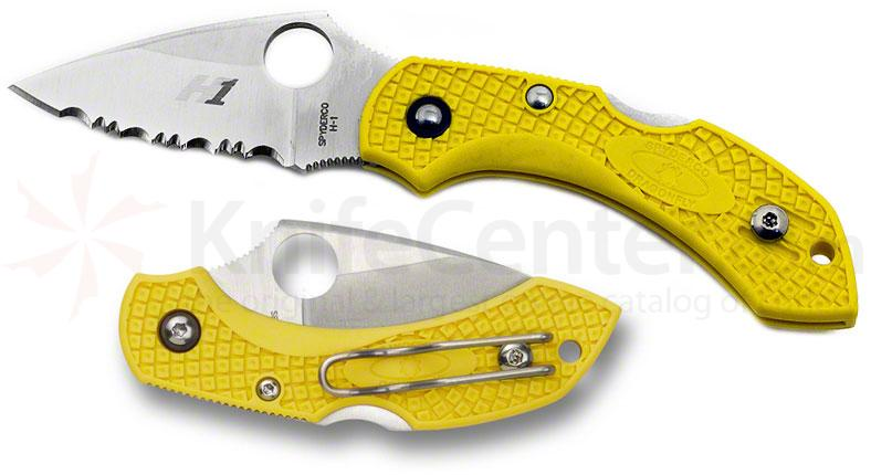 Spyderco C28SYL2 Dragonfly2 Salt Folding Knife 2-1/4 inch H1 Serrated Blade, Yellow FRN Handles