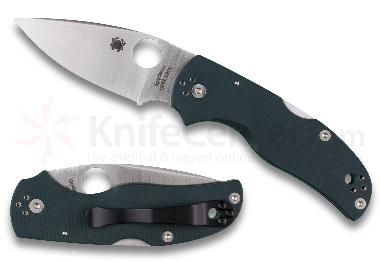 Spyderco C41GPFGR5 Native 5 Folding Knife 2.95 inch S90V Satin Plain Blade, Forest Green G10 Handles, KnifeCenter Exclusive