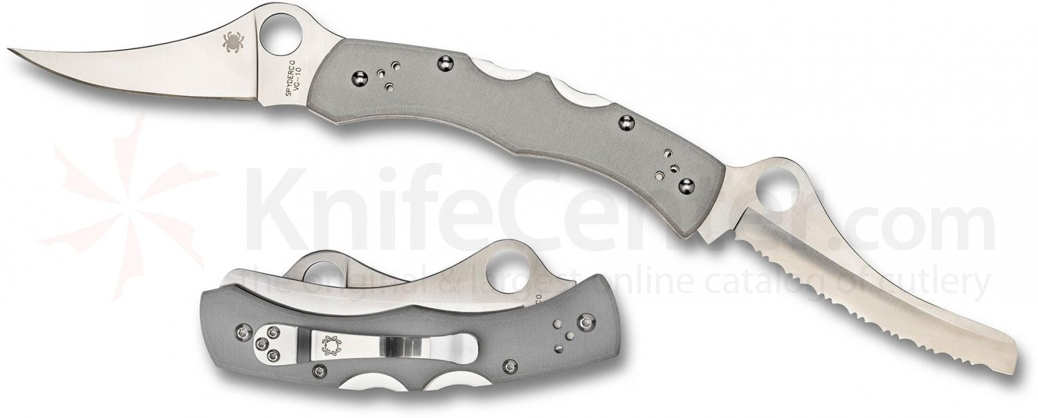 Spyderco C44GP&SGY Dyad Plain and Serrated VG10 Blades, Gray G10 Handles, Sprint Run