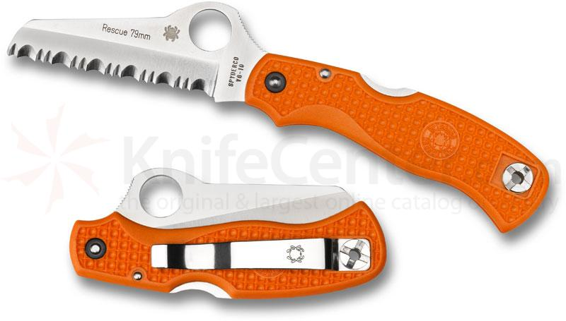 Spyderco C45SOR Rescue 79mm Folding Knife 3-1/8 inch VG10 Serrated Blade, Orange FRN Handles