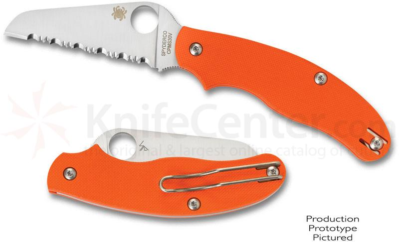 Spyderco UK Pen Rescue Knife 3 inch S30V Serrated Sheepfoot Blade, Orange G10 Handles