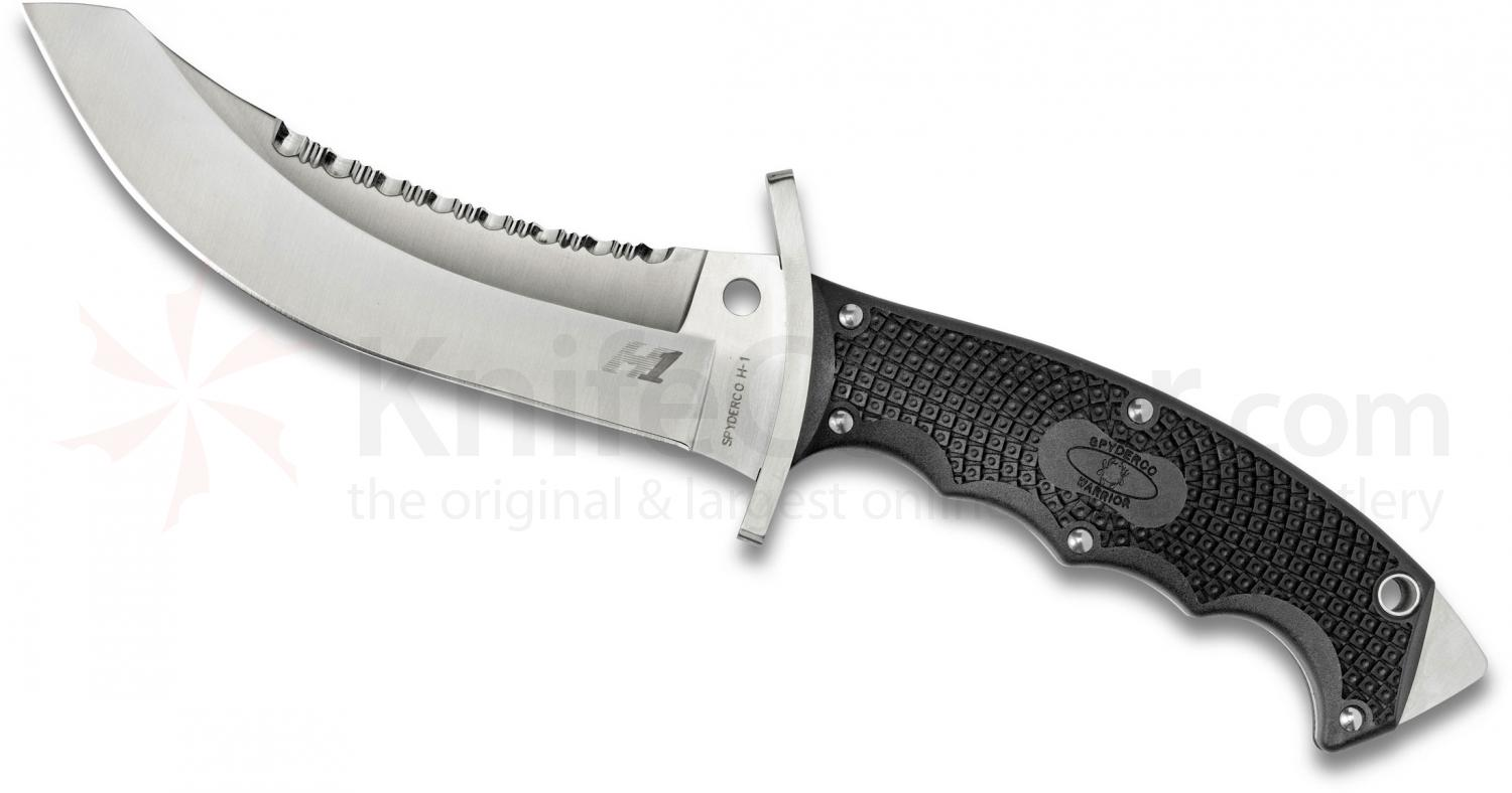 Spyderco FB25PSBK Warrior Combat Knife 5-11/16 inch H1 Satin Plain and Serrated Blade, FRN Handles