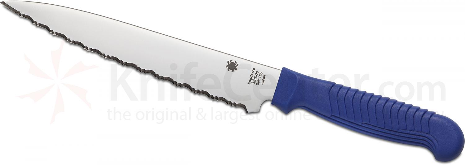 Spyderco K04SBL Kitchen Utility Knife 6.5 inch Serrated Blade, Blue Polypropylene Handle