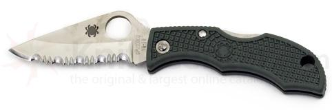 Spyderco LadyBug 3 Key Ring Knife VG10 Serrated Edge Green FRN Handle