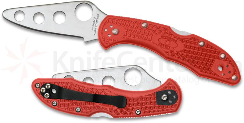 Spyderco C11TR Delica 4 Trainer 2-7/8 inch Unsharpened Blade, Red FRN Handles
