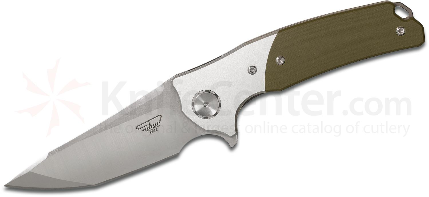 Stedemon Knife Company DSM 3 Flipper 3.74 inch VG10 Tanto Blade, OD Green G10 Handles with Aluminum Bolsters
