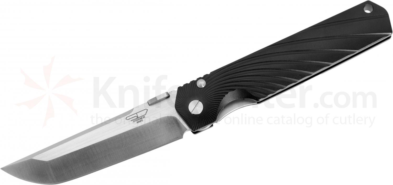 Stedemon Knife Company SHY Folding 3.75 inch S35VN Flat Ground Blade, One-Piece Black Aluminum Handle, KnifeCenter Exclusive