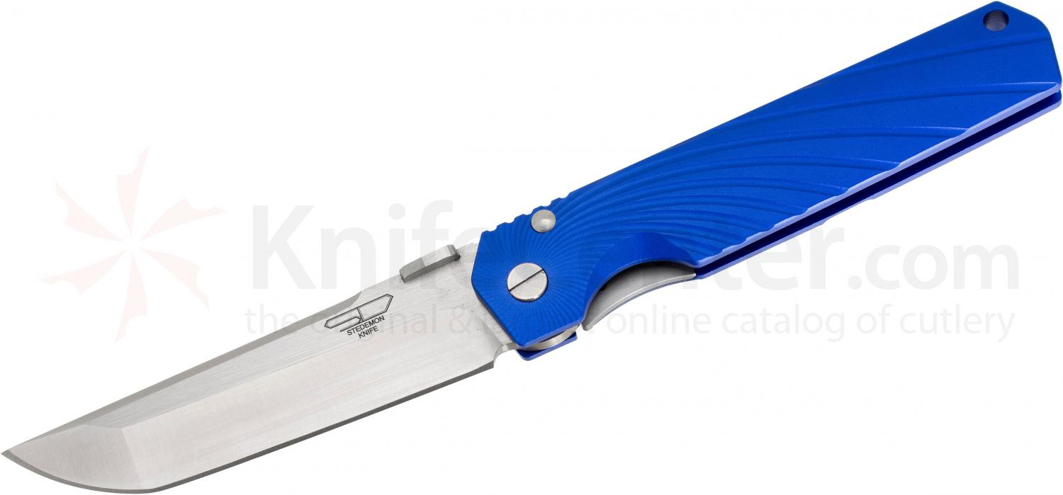 Stedemon Knife Company SHY Folding 3.75 inch S35VN Flat Ground Blade, One-Piece Blue Aluminum Handle, KnifeCenter Exclusive