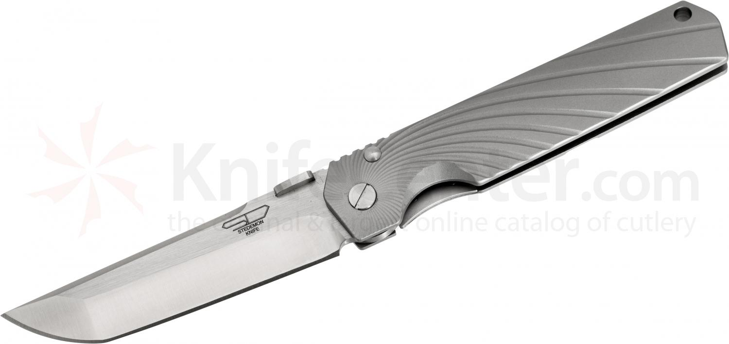 Stedemon Knife Company SHY Folding 3.75 inch S35VN Flat Ground Blade, One-Piece Gray Aluminum Handle, KnifeCenter Exclusive