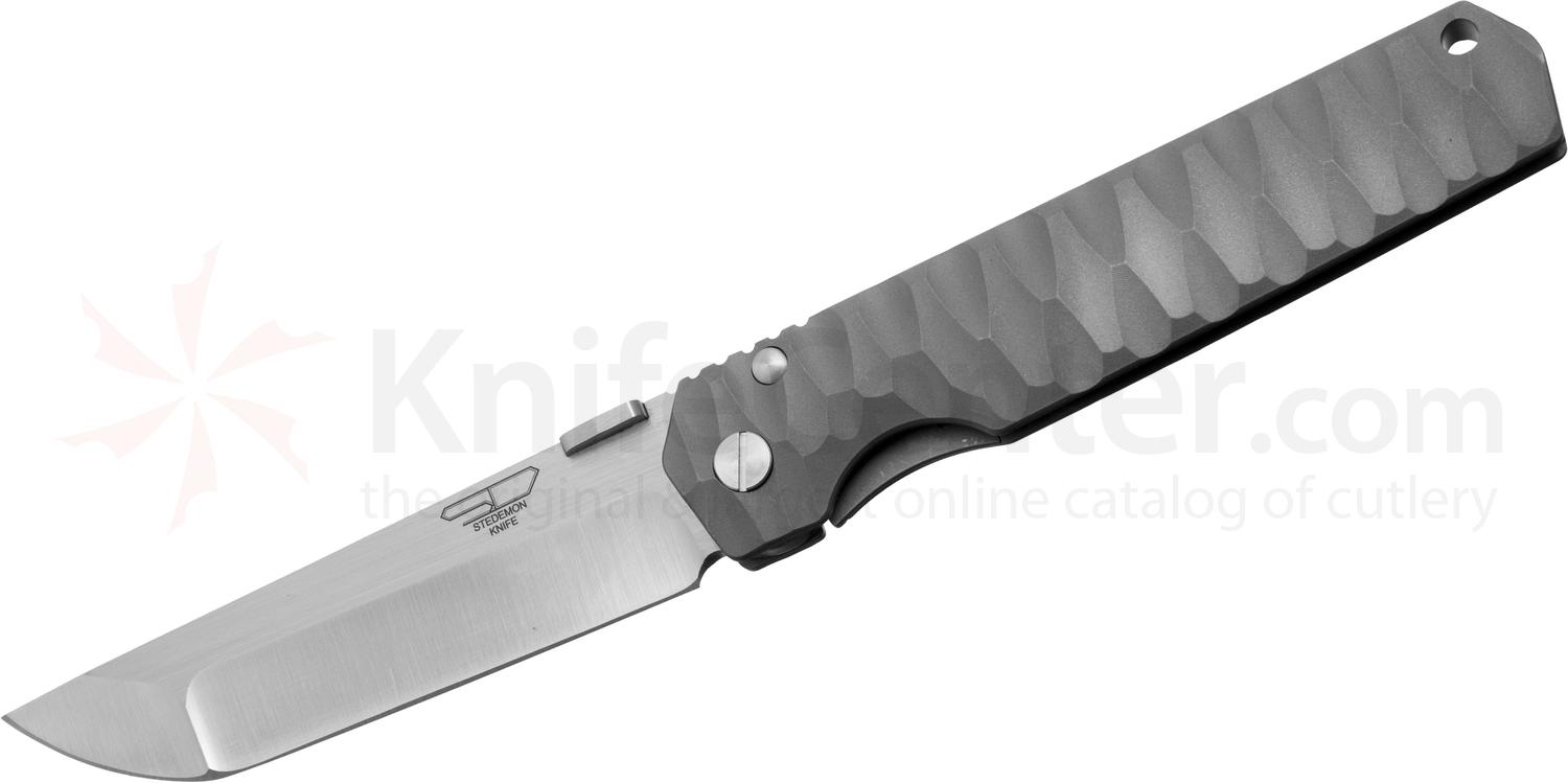 Stedemon Knife Company SHY Folding 4 inch S35VN Hollow Ground Blade, One-Piece Milled Titanium Handle