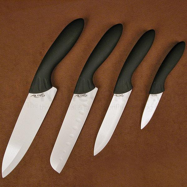 Stone River Gear Four Piece Ceramic Knife Set Parer, Utility, Santoku, Chef with White Ceramic Blades and Acrylic Holder
