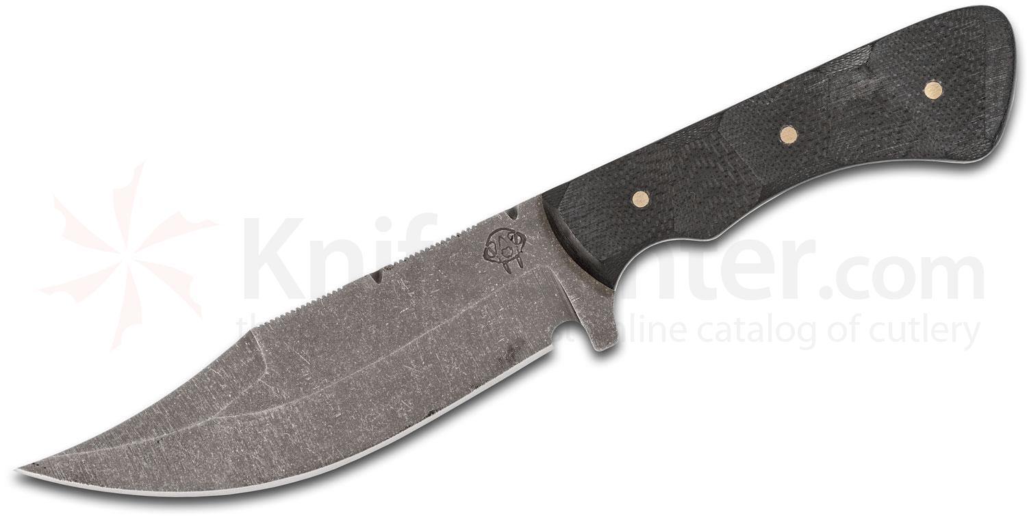 Stray Cat Knives Custom Clip Point Fixed Blade Knife 5.125 inch S30V Dark Acid Wash, Milled Black G10 Handles, Kydex Sheath with Leather Belt Loop